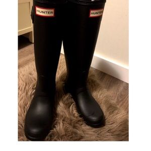 Tall Matte Black Hunter Boots